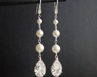 Bridal Chandelier Earrings, Swarovski Crystal Pearl Cubic Zirconia Drop Earrings, Wedding Accessories, Pearl Earrings  - Glistening Samantha