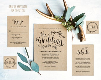 Vintage Wedding Invitation Suite, Printable Wedding Invitation Template, Rustic  Wedding Invitation Cards, DIY