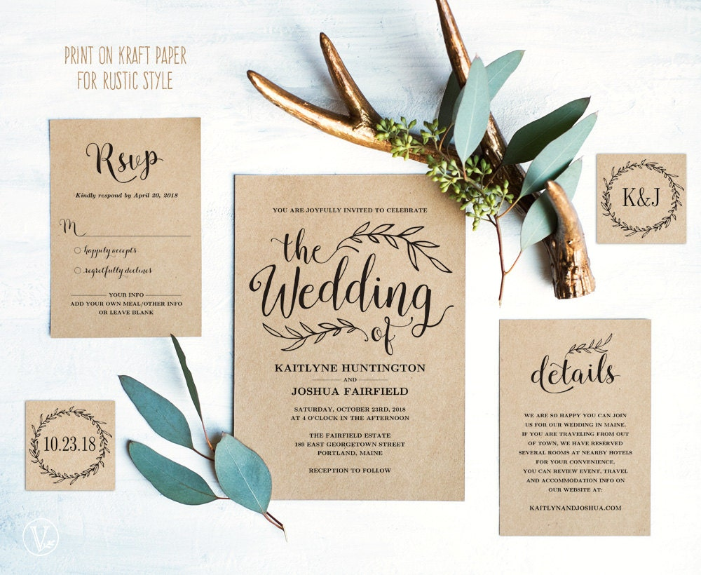 Vintage Wedding Invitation Suite Printable Wedding Invitation - Diy photo wedding invitations templates