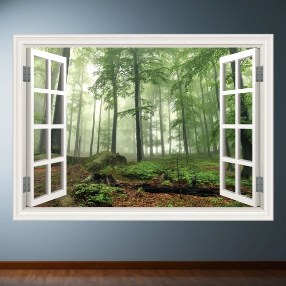 woods trees window frame wall art sticker decal transfer mural. Black Bedroom Furniture Sets. Home Design Ideas