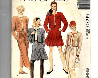 McCall's Misses' Lined Jacket, Skirt and Pants Pattern 5520