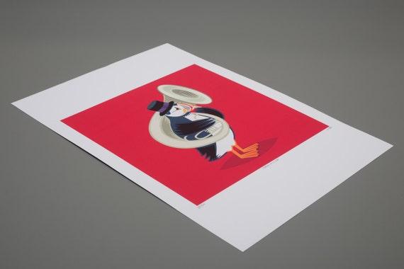 iOTA iLLUSTRATION - Puffin On A Tuba - Children's Wall Art -  Animal Art illustration - Limited Edition Print
