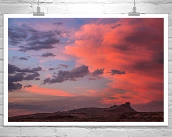 Sunset Photography, Western Landscape Art Print, Landscape Photograph, Modoc County Picture, Lava Beds Picture, Western Sunset Art Print