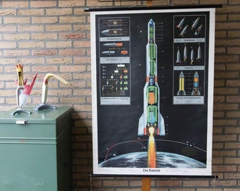 Vintage  Pull Down Chart  The Rocket  School Chart