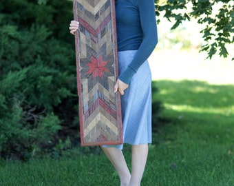 38x10 Barn Wood Sign Quilt Pattern Large and Narrow Wall Art Reclaimed Materials Wooden Sign FREE SHIPPING