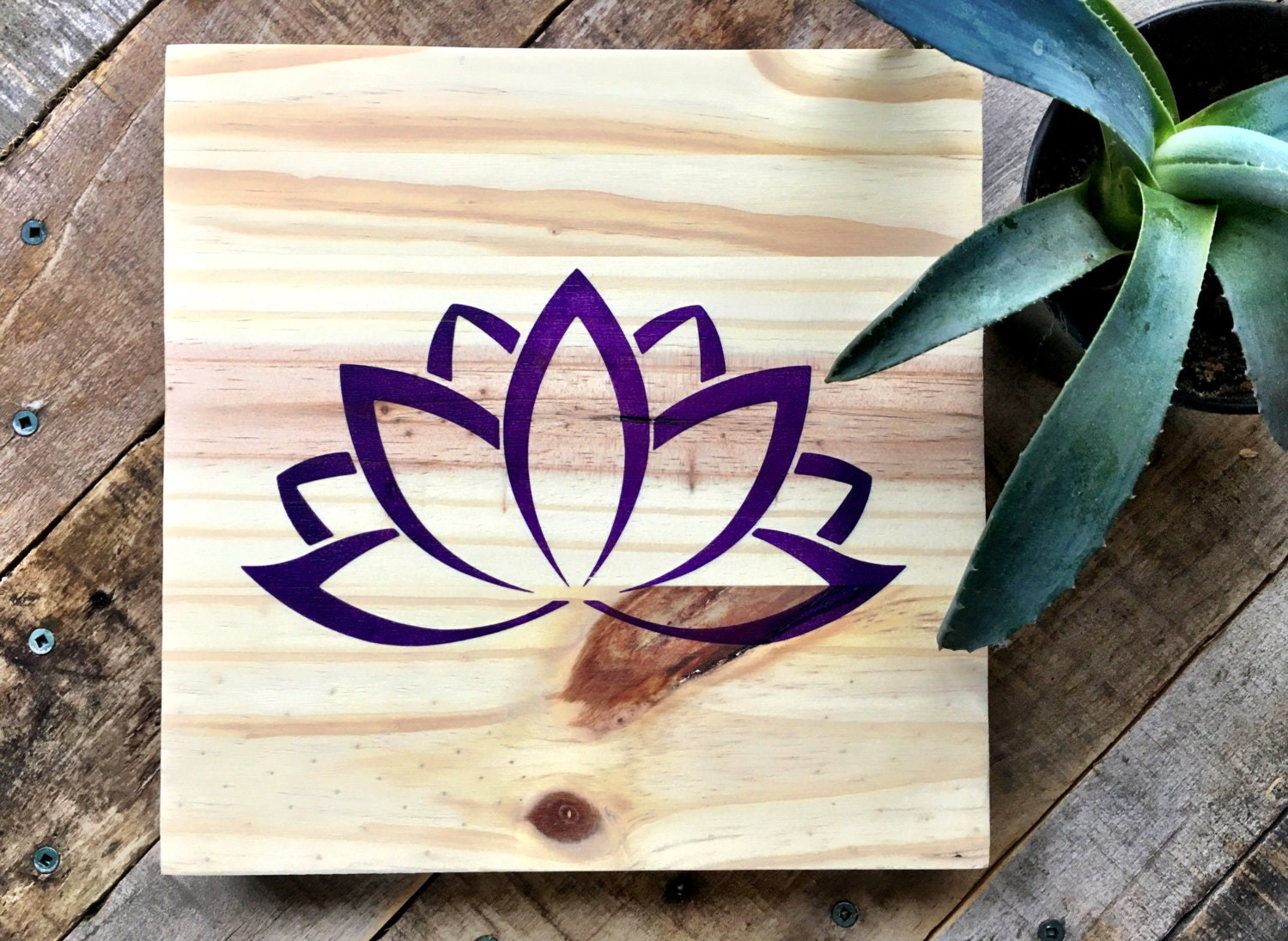 Lotus Wood: Wood Wall Art Lotus Painting Lotus Art Wood Lotus Sign