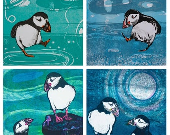 Playful Puffins - a pack of 4 art cards, blank inside, produced from original artwork by Louise Worthy Artist & Printmaker