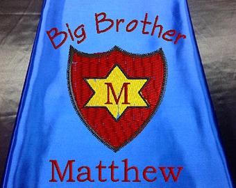 Superhero cape  Kid's  cape,   Super Hero Cape Big Brother Shield, star cape Custom Embroidered   Personalized