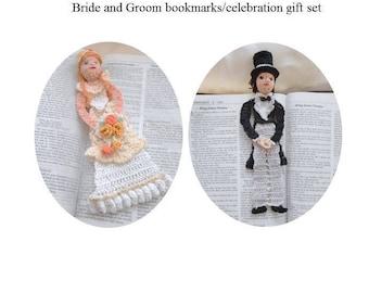 bride and groom bookmark gift set, wedding gift set, unique bookmarks set, Christmas gift set, anniversary gift set, readers gift set,