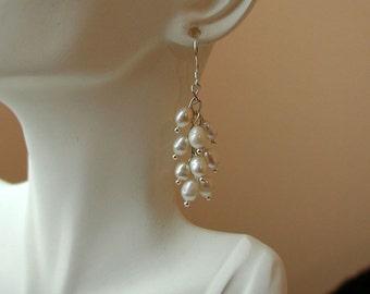White Freshwater Pearls Cluster Earrings.