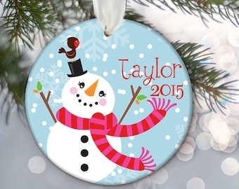 Personalized Snowman Christmas Ornament Christmas Gift Christmas Keepsake Snowman Ornament Custom Ornament Custom Snowman Holiday Gift OR240