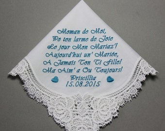 Mother of Bride Embroidered Wedding Handkerchief Personalized Custom