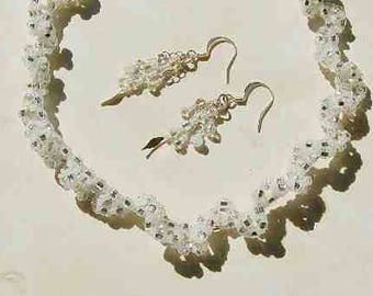 Ruffled Beaded Necklace and Earrings Handmade White and Silver