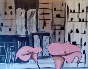 Arum coffee break, abstract painting.
