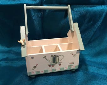 Phfaltzgraff nature wood silverware and napkin caddy, vintage from 1997