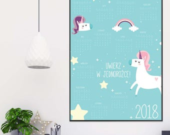 Printable Calendar 2018, Floral Calendar Printable Planner 2018 ,A3 A5 A4 Calendar Printable, Wall Calendar Instant Download