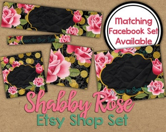 Shabby Rose Etsy Banner Set - Rose Gold Etsy Shop Banner - Golden Banner - Golden Etsy Shop Banner - Gold Glitter Etsy Shop Icon