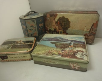 Kitchenalia.....collectors lot of 4 assorted biscuit tins from the 1930 of various makes