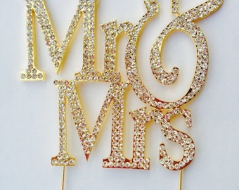 Mr & Mrs Monogram Silhouette Gold Rhinestone Crystal Wedding Cake Toppers Baking Supplies