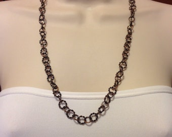 Antique Copper Handmade Adjustable Chain Necklace Made from Solid Copper Wire Available in 18 Inch, 22 Inch, and 27 Inch