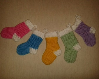 Handcrafted crochet Christmas stocking decorations