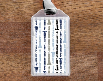 Clarinet Themed Musical Instrument ID Tag or Luggage Tag - Blue and Gray