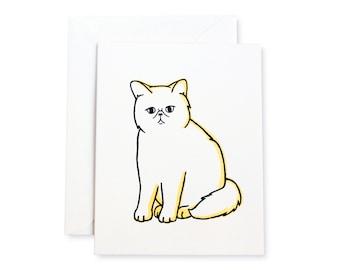 Exotic Shorthair Smoosh Cat Letterpress Card