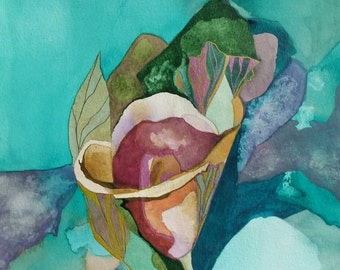 "Fall Series "" Calla Fantasy"" original one of a kind watercolor"
