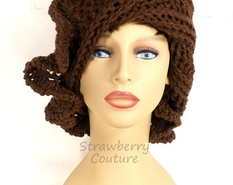 Crochet Cloche Hat 1920s, Womens Crochet Hat, Crochet Womens Hat 1920s, Brown Hat, African Hat, Cynthia 1920s Cloche Hat with Ruffle