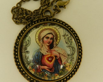 Religious Necklace Virgin Mary  Immaculate Heart  Glass Tile Antique  Cabochon Pendant Necklace