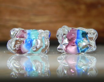 Lampwork Bead Pair Organic Glass Blue Turquoise  Earring Beads Supplies Jewelry Supplies ice Cube Beads