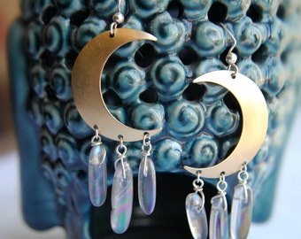 Moon Aura Earrings -- Polished Quartz -- Crescent Moon -- Gypsy Jewelry -- Moon Earrings -- Quartz Jewelry -- Bohemian -- Wire Wrapped