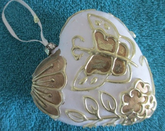 Two vintage ornate white  and gold heart ornaments by Ganz