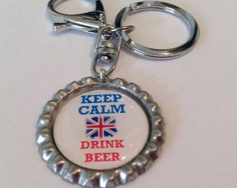Bottle Top Key Ring Keep Calm Drink Beer Key Chain with Union Jack detail complete with gift tin Perfect Gift or Accessory Handmade