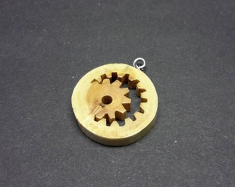Gear Necklace made from Maple - hand cut with scroll saw -FREE SHIPPING