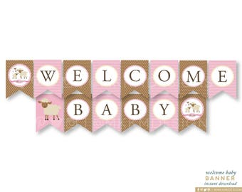 Pink Lamb Banner, Welcome Baby Banner, Lamb Baby Shower, Girl Shower Decor, Lamb Baby Decor, Lamb Shower Decor, INSTANT DOWNLOAD, #2403