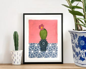 cactus art pink art original art mothers day gift collage artwork - blue and white vase - collage on paper, mixed media art, affordable art