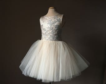 JORDAN Champagne Tulle Flower Girl Dress Vintage Dress Wedding Bridesmaid Dress Dusty Blue lace
