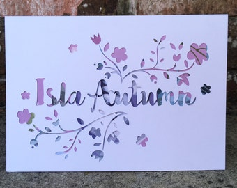 Papercut New Baby Girl Personalised Card