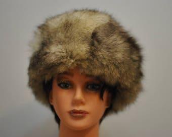 Vintage FOX FUR HAT , women's fur winter hat , winter shield ................(020)