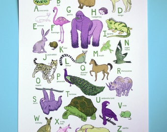 ABC Animal Print - Earth's Animals - 13x19