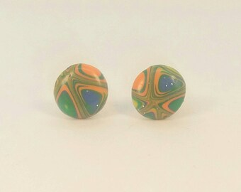Polymer Clay Round Stud Earrings D101