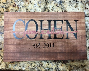 Family Last Name with knockout of first names -Wood sign
