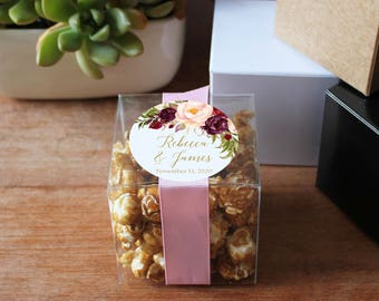 12 - Wedding Favor Boxes - Marsala Label Design | Personalized Favor Box | Cookie wedding favor | square favor box | ANY OCCASION