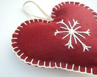 Felt Christmas Decoration, Heart Decoration, Felt Christmas Ornament