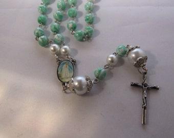 Aqua Marine and White Rosary