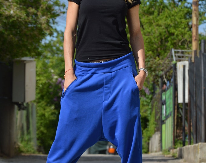 Blue Harem Pants, Drop Crotch Pants, Extravagant Pants, Low Bottom Pants, Urban casual Zipper Pants, Cotton Pants by SSDfashion