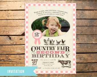 Vintage Country Fair Farm Photo Invitation PLUS Matching Thank You Note