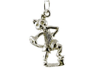 Sterling Silver Puss In Boots Charm For Bracelets