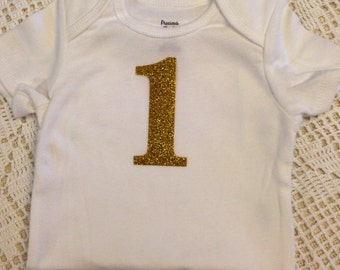"""Gold Glitter Iron-On vinyl """"1"""" number for yearly, monthly, or birthday onesie- Lettering ONLY"""